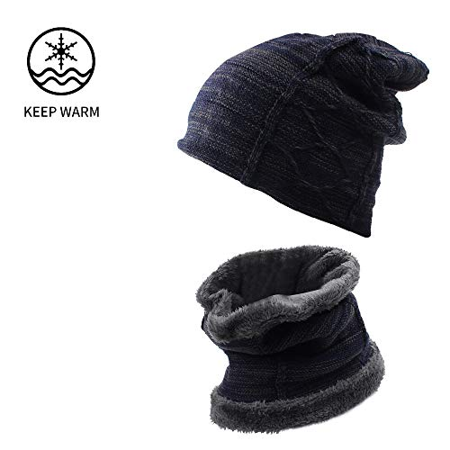 XIAOHAWANG Winter Hat Scarf Set Warm Knit Beanie Thick Scarves Fleece Lining Slouchy Crochet Skull Cap for Men Women Adults(Navy 2)