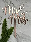 Mr & Mrs (Two Lines) Acrylic Rose Gold Mirror Wedding Cake Topper
