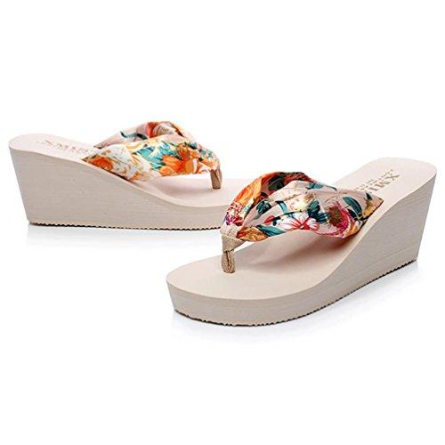 SHANGXIAN antideslizante playa panecillo inferior de las mujeres flip-flops sandalia de la cuña a