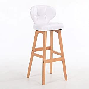 WENBO HOME- Minimalistic, Solid Wood, Leather Cushion Bar Front Desk European Chair Wooden Bench Vintage Bar Stool Height 78cm -chair ( Color : White , Size : A )