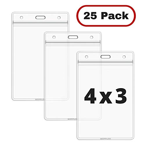 MIFFLIN Large Vertical ID Badge Holders, Plastic Nametag Covers with Zipper, Clear 4x3 inch Name Tag Holder (25 Pack)