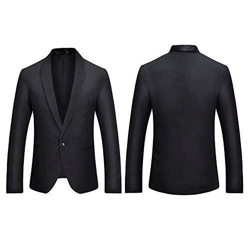 Costume Schwarz Bouclier Slim Affaires Bouton Mode Hommes Vestes Blazer Homme Fête Casual Un Couleur Épissage Fit UvBfxZ