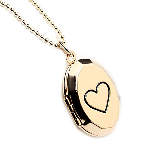 Child Oval Locket (Photo Locket Necklace Diy Picture Carving Heart Oval Pendant for Girl for Girl Gold Plated 18 inch)