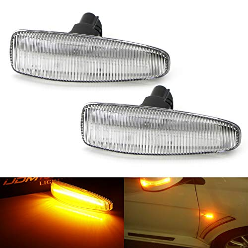 iJDMTOY Clear Lens Amber Full LED Front Side Marker Lights For Mistubishi Lancer Evo X Mirage Outlander Sport, Powered by 36-SMD LED, Replace OEM Sidemarker Lamps - Mitsubishi Mirage Signal Light