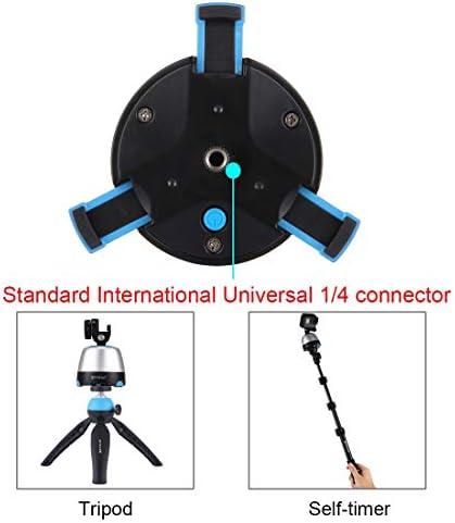 Camera Tripod Mount 電子360度回転パノラマヘッド 三脚マウント GoProクランプ スマートフォン、GoPro、DSLRカメラ(ブルー)用リモコン付き電話クランプ (色 : 黄)