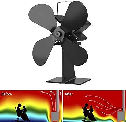 Ventilador de estufa de 4 palas con quemador de calor Ecofan Quiet ...