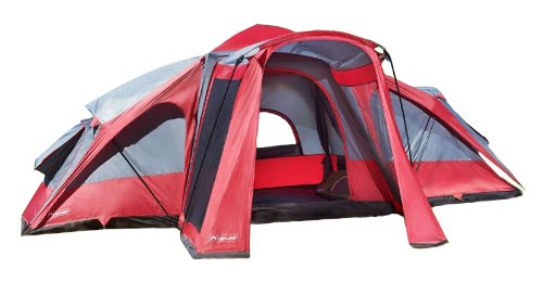 Lightspeed 3 Room 8 Person 17.5 X 15 Compound Tent, Red/Gray, Outdoor Stuffs