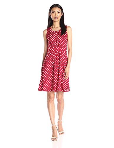 Star Vixen Women's Sleeveless Banded Skater Waist Bodice and Shirred Skirt Short Ity Dress, Red/White Dot, (Shirred Waist Knit Dress)