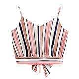 Dunacifa Women Tank Top Fashion Lady Self Tie Back V-Neck Stripe Crop Top Women's Camisole Tank Blouse Tops Pink
