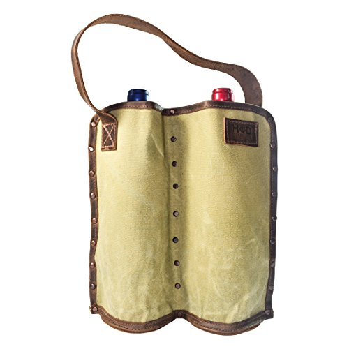 Durable Double Wine Holder Handmade by Hide & Drink :: Waxed Canvas (Almond Cabernet Sauvignon Wine)