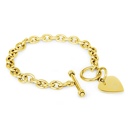 Gold Plated Stainless Steel Engraved I Love You Heart Tag Charm Bracelet (Bracelet Rolo Gold)