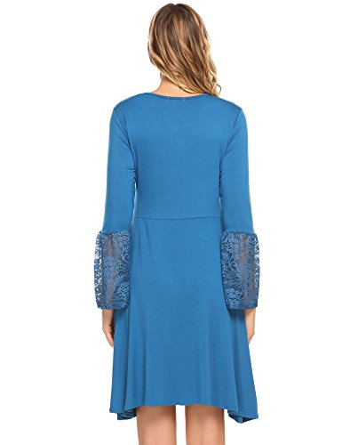 Back Sleeve 4 Women's Elegant 3 Hotouch Midi A Line with Casual Blue Zipper navy Dress Flared 3 7qRwpWct