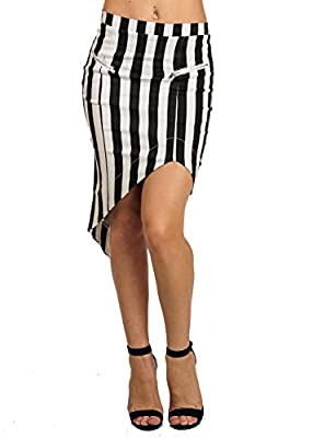 Womens Juniors High Waisted Black White Striped Asymmetrical Midi Skirt 41156Y