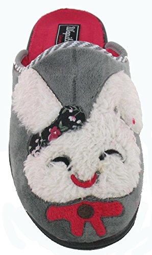 velours brod WAPITI'TOO femme en pantoufles Mules lapin chaussons nHx1HP6q