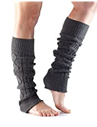 Toesox Women's Knee High Cable Knit Leg Warmers for Yoga & Dance