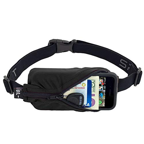 SPIbelt Running Belt Original Pocket No Bounce Waist Bag for Runners Athletes Men Women Smartphones iPhone 7 8 X Workout Fanny Pack Expandable Sport Pouch Adjustable No Logo Elastic Black with Zipper