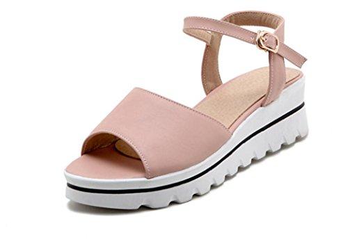 SHFANG Sandalias de las señoras Sandalias del dedo del pie del rocío del ocio del verano Estudiantes de la correa de la hebilla del color sólido Tres colores los 5cm Pink
