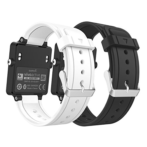Garmin Vivoactive Watch Band, MoKo [2 PACK]Soft Silicone Replacement Fitness Bands Wristbands with Metal Clasps for Garmin Vivoactive / Vivoactive Acetate Sports GPS Smart Watch - BLACK & WHITE