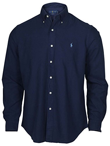 Polo+Ralph+Lauren+Men%27s+Long+Sleeve+Oxford+Button+Down+Shirt-NavyMu%2C-M