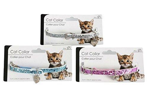 Katzenhalsband,glänzend, inkl. Charm, Pink, Blau, Silber