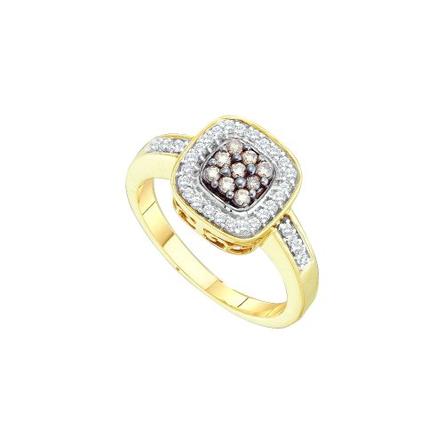(Sonia Jewels Size 7-14K Yellow Gold Halo Channel Set Round Cut Chocolate Brown and White Diamond Engagement Ring OR Fashion Band - Square Princess Shape Center Setting - (1/4)