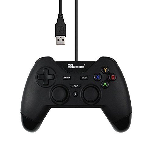 Mekela USB Wired Controllers for PS3 PC PSVITA TV Box Android Windows with Dual-Vibration Tubro(Black)