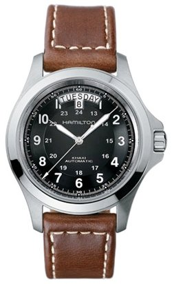 Hamilton Men's H64455533 Khaki King Series Stainless Steel Automatic Watch with Brown Leather (Day Date Series)