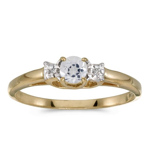 Jewels By Lux 14k Yellow Gold Genuine Birthstone Solitaire Round White Topaz And Diamond Wedding Engagement Ring - Size 4.5 (0.28 Cttw.)