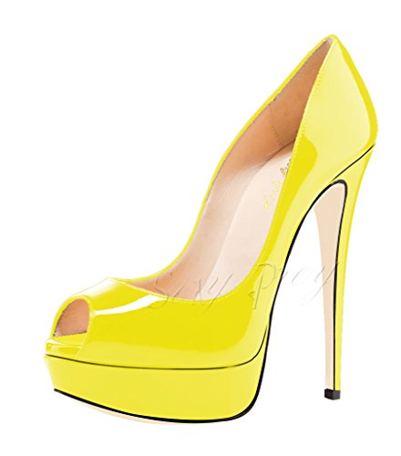 SexyPrey Heels Court for Toe Women's Peep Yellow Patent Party Platform High Shoes Sandals Dressy Wedding Bvq8qrIwxZ