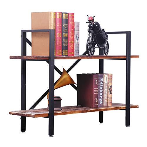 2-Shelf Modern Industrial Style Bookcase, Vintage Solid Wood and Black Metal Frame, Rustic Book Shelf, Storage Display Shelves, Open Etagere Bookcase,Free Standing Storage Shelf Units