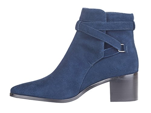Verocara Chrismas Suede for Party Buckle and Ankle Strap Women's High Genuine Navy Boots Wedding Heel Leather wUrwTPx4