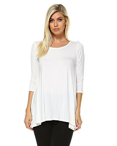 Tunic Tops For Leggings Women - A Line Comfort Swing Top Made In USA Large Soft White