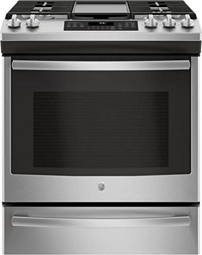 (GE JGS760SELSS 30 Inch Slide-in Gas Range with Sealed Burner Cooktop, 5.6 cu. ft. Primary Oven Capacity, in Stainless)
