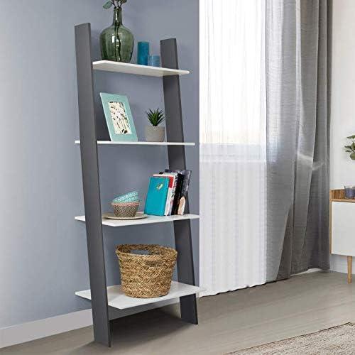 IDMarket Etag/ère /échelle scandinave 4 niveaux bois blanc et gris