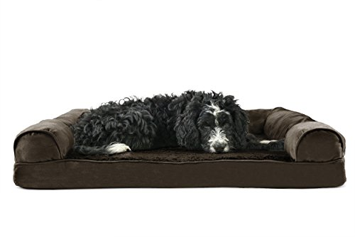 FurHaven Pet Dog Bed | Orthopedic Ultra Plush Sofa-Style Couch Pet Bed for Dogs & Cats, Espresso, Large by...