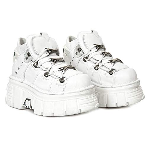 New Bianco Stivaletti Scarpe Party Gotico s53 Cyber Rave 106 Punk Rock Pelle Donna M Zeppa Heavy Rrq1Rw