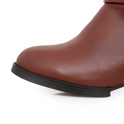 with AmoonyFashion PU Closed M Short 5 Boots B Plush Round Womens Low Brown US Heels Solid 8 Heels Toe Square xwx5PRrYq