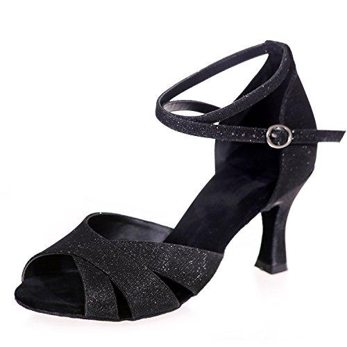 Elobaby Glitter Toes A8349 Danse Peep Talon De pour Evening 7 Standard Black Femmes Boucle Latin Chaussures 5cm rRTqzwYnr