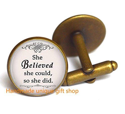 Dainty Cufflink, Delicate Cufflink,She Believed She Could, so She Did Cufflink, Inspiration Jewelry Inspirational Cufflink-RC016