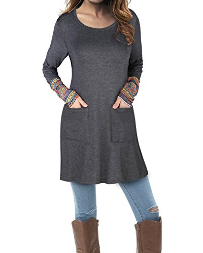 II ININ Women's Long Sleeve Round Neck Casual Tunic Tops with Pocket(Gray,S) -