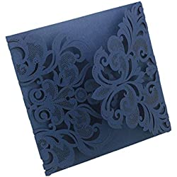 AllHeartDesires Luxury Laser Cut Navy Blue Lace Floral Wedding Invitation Invite Card, Cover Only (50PCS)