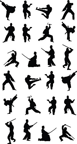Martial Arts Silhouette - Martial Art Silhouette Stickers Multi Pack
