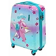 PERLETTI Einhorn Unicorn Kinderkoffer – Kinder Trolley Handgepäck Leicht 4 Rollen Zahlenschloss – Hartschalen Cabin Bag…