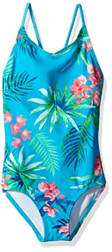 Kanu Surf Big Girls' Chloe Beach Sport 1-Piece Swimsuit, Leonie Floral Aqua, 8