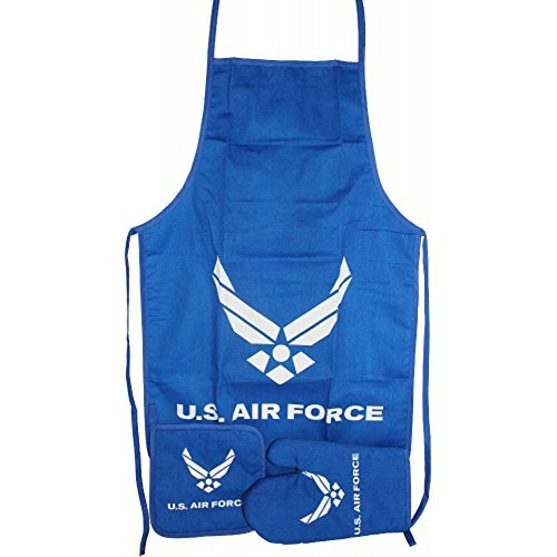 Blue USAF Air Force Wings BBQ Barbeque Apron Cook Set (Air Apron Force Bbq)