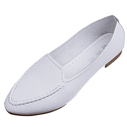 Minetom Damen Pointed Toe Mokassins Lederschuhe Casual Slipper Sommer Slip-on Flache Schuhe Weiß