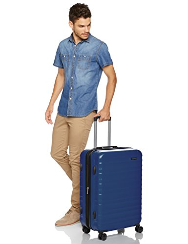 AmazonBasics Hardside Spinner Travel Luggage Suitcase - 24 Inch, Navy Blue