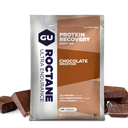Gu Energy Roctane Ultra Endurance Protein Recovery Drink Mix, 10 Single-Serving Packets, Chocolate Smoothie (Chocolate Mix Drink)