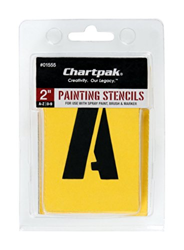 (Chartpak Letter and Number Painting Stencils, A-Z and 0-9, 2 Inches H, 35 per Pack (01555))
