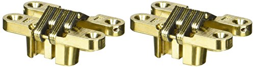 SOSS Mortise Mount Invisible Hinges with 4 Holes, Zinc, Satin Brass Finish, 2-3/8